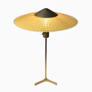 Vintage Swiss Brass & Checkered Glass Tripod Table Lamp, 1960s