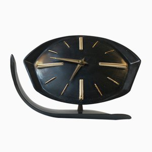 Black Bakelite Mechanical Table Clock from PRIM Clocks, 1950s