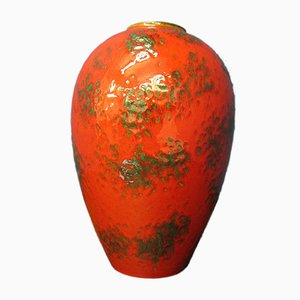 Large Mid-Century Red Ceramic Fat Lava 849/2 Vase from Ruscha