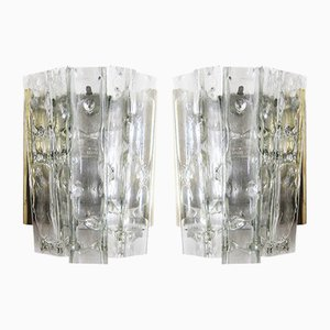 Mid-Century Glass & Brass Wall Lamps from Doria Leuchten, Set of 2