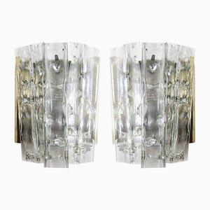 Mid-Century Wandlampen aus Glas & Messing von Doria Leuchten, 2er Set