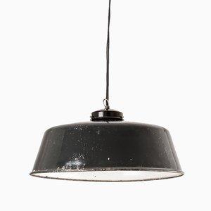 German Enameled Factory Ceiling Lamp, 1960s