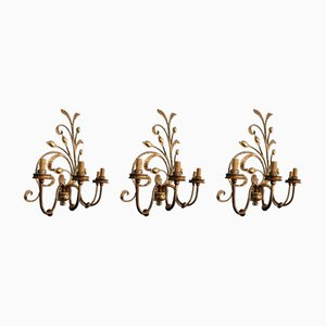 Regency Style Sconces, 1950s, Set of 3