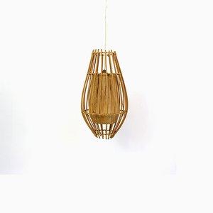 Lampe à Suspension en Rotin et Raphia, 1970s