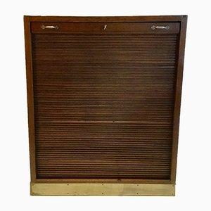 Vintage Oak Roller Door Cabinet, 1950s