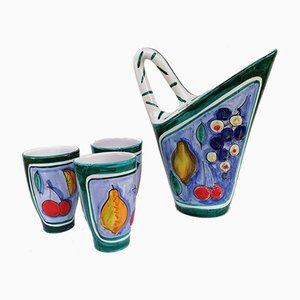 Ceramic Pitches & Cups Set from S. Deruta, 1950s