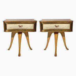 Tables de Chevet Vintage en Bois par Pecorini, Set de 2