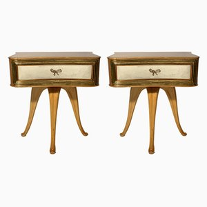 Vintage Wooden Nightstands by Pecorini, Set of 2