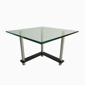 Glass and Chrome Metal Side Table