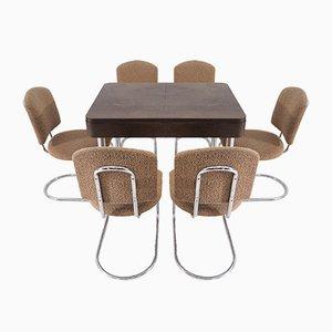 Table et 6 Chaises de Salle à Manger Art Déco en Chrome de Hynek Gottwald, 1930s