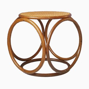 Mid-Century Bentwood and Rattan Stool, 1960s