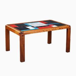 Elm and Ceramic Coffee Table by Pierre Chapo, 1960s