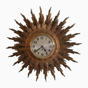 Large Giltwood Sunburst Wall Clock, 1950s
