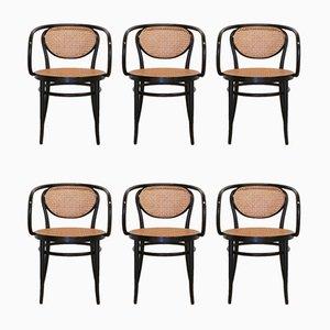 210R Armlehnstühle aus Bugholz und Rattan von Thonet, 2001, 6er Set