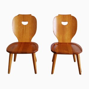 Beistellstühle aus Kiefernholz von Carl Malmsten für Svensk Fur, 1950er, 2er Set