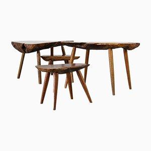 Tavolini a forma di tronco d'albero, anni '60, set di 4