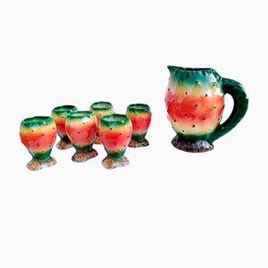 Vintage Keramik-Set mit Kanne & Tassen in Wassermelonen-Optik von Falco, 1970er