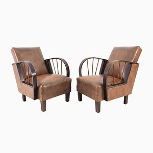 Art Deco Style Lounge Chairs, 1970s, Set of 2