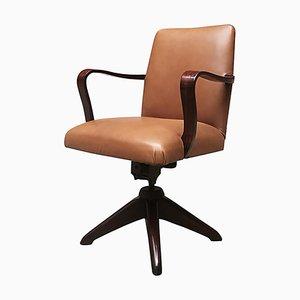 Chaise de Bureau Pivotante en Palissandre et Cuir, 1960s