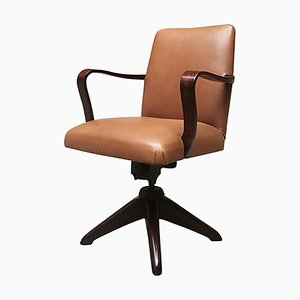 Rosewood & Leather Swivel Desk Chair, 1960s