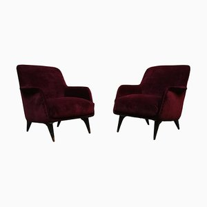 Italian Purple Velvet Lounge Chairs by Carlo de Carli for Cassina, 1950s, Set of 2
