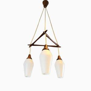 Dänische Triple Deckenlampe aus Teak, 1960er