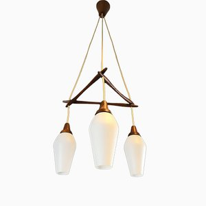 Lámpara de techo danesa triple de teca, años 60