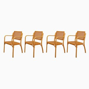 Bentwood Beech and Rattan Chairs, 1970s, Set of 4