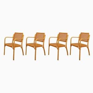 Chaises en Bois de Hêtre et en Rotin, 1970s, Set de 4