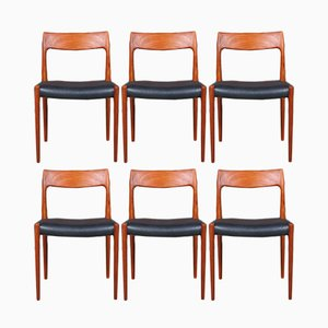 Vintage Model 77 Dining Chairs by Niels Otto Møller for J.L. Møllers, Set of 6
