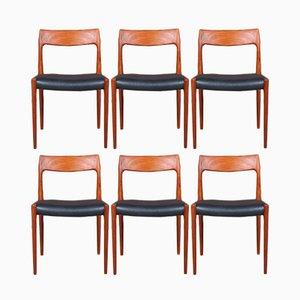 Vintage Model 77 Dining Chairs by Niels Otto Møller for J.L. Møllers, Set of 6