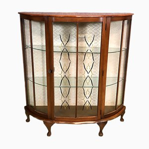 Art Deco English Walnut Showcase, 1930s