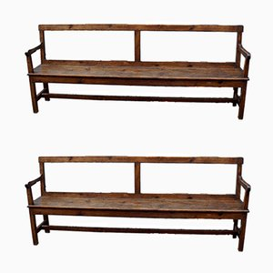 Antique Pine Country Benches, Set of 2