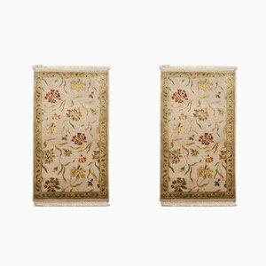 Handgefertigte Jaipur Teppiche aus Wolle & Seide, 1980er, 2er Set