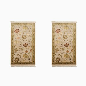 Handmade Wool and Silk Jaipur Carpets, 1980s, Set of 2