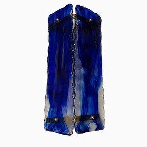 Große blaue Wandleuchten aus Muranoglas, 2er Set