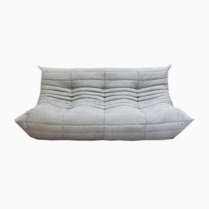 Light Grey Microfiber Togo 3-Seater Sofa by Michel Ducaroy for Ligne Roset, 1970s