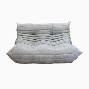 Togo 2-Sitzer Sofa mit grauem Mikrofaserbezug von Michel Ducaroy für Ligne Roset, 1970er
