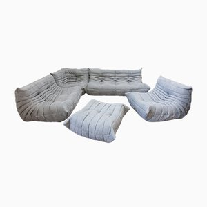 Light Grey Microfiber Togo Living Room Set by Michel Ducaroy for Ligne Roset, 1980s