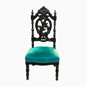 Chaise Napoléon III Antique en Bois Noirci