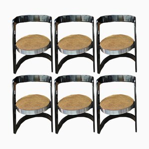 Esszimmerstühle mit schwarz lackiertem Holzgestell & Ledersitz von Willy Rizzo für Mario Sabot, 1970er, 6er Set