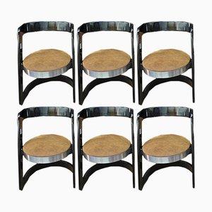 Esszimmerstühle mit schwarz lackiertem Holzgestell & Ledersitz von Willy Rizzo für Mario Sabot, 1970er, 8er Set