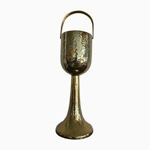 Großer antiker Jugendstil Champagnerkühler aus Messing mit Standfuß von WMF, 1900er