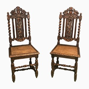 Vintage Henry II Style Oak Dining Chairs, Set of 2