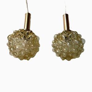 Lámparas colgantes de cristal burbuja de Helena Tynell para Limburg, años 60. Juego de 2