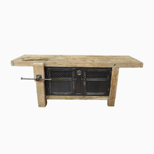 Mesa de carpintero vintage de haya, años 30