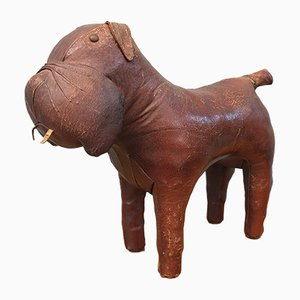 Vintage Leather Dog Ottoman by Dimitri Omersa