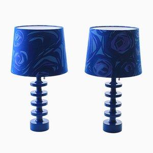 Lampade da tavolo moderne blu di Uno & Östen Kristiansson per Luxus, Scandinavia, anni '60, set di 2