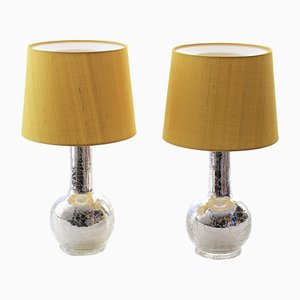 Scandinavian Modern Yellow Table Lamps with Silver Foil Bases by Uno & Östen Kristiansson for Luxus, 1960s, Set of 2