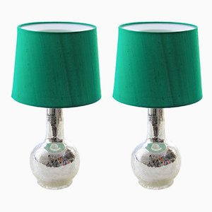 Scandinavian Modern Green Table Lamps with Silver Foil Bases by Uno & Östen Kristiansson for Luxus, 1960s, Set of 2